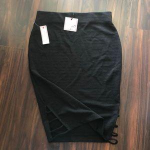 Bisou Bisou Black stretchy midi skirt